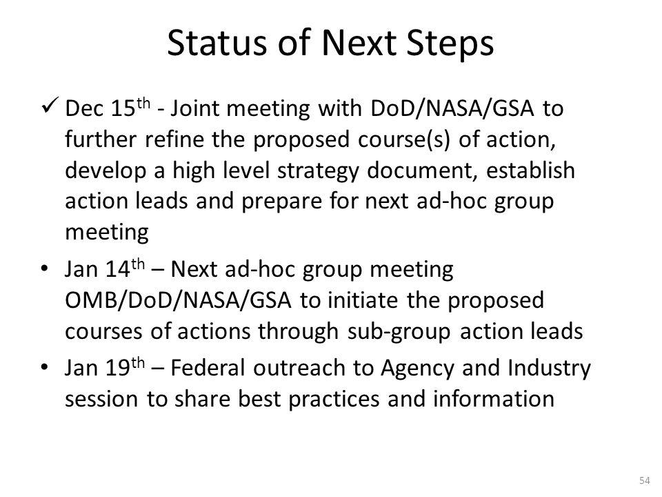 Status of Next Steps
