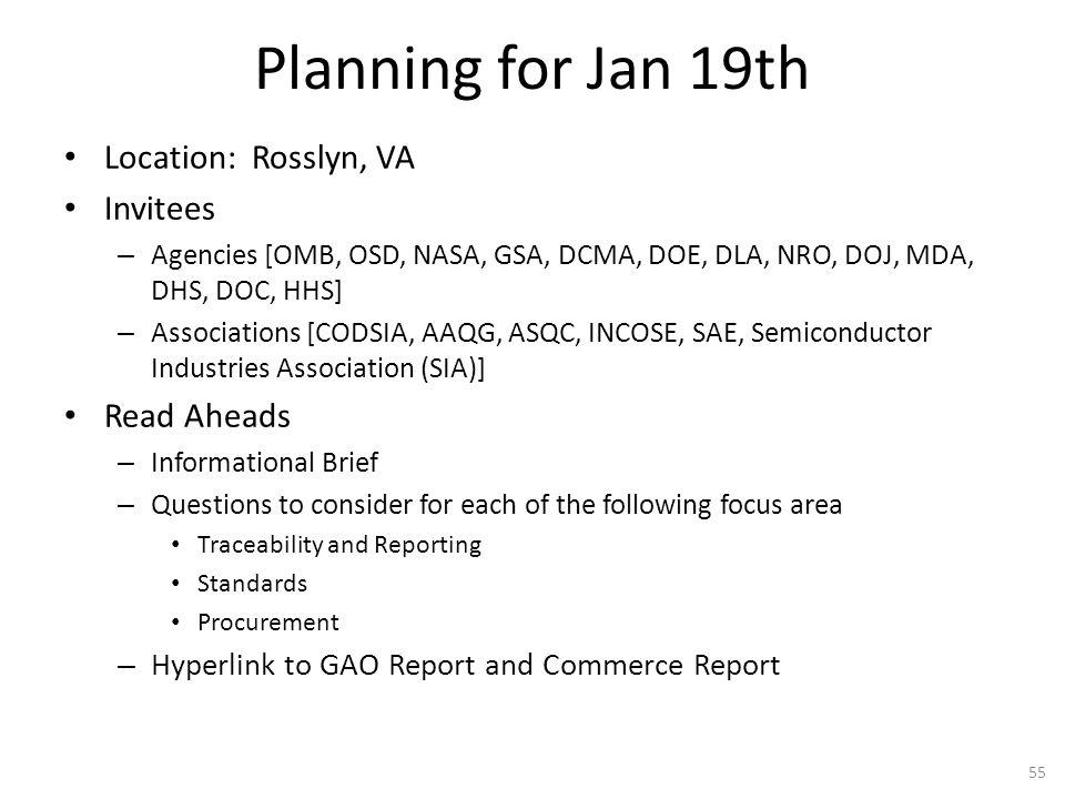 Planning for Jan 19th Location: Rosslyn, VA Invitees Read Aheads