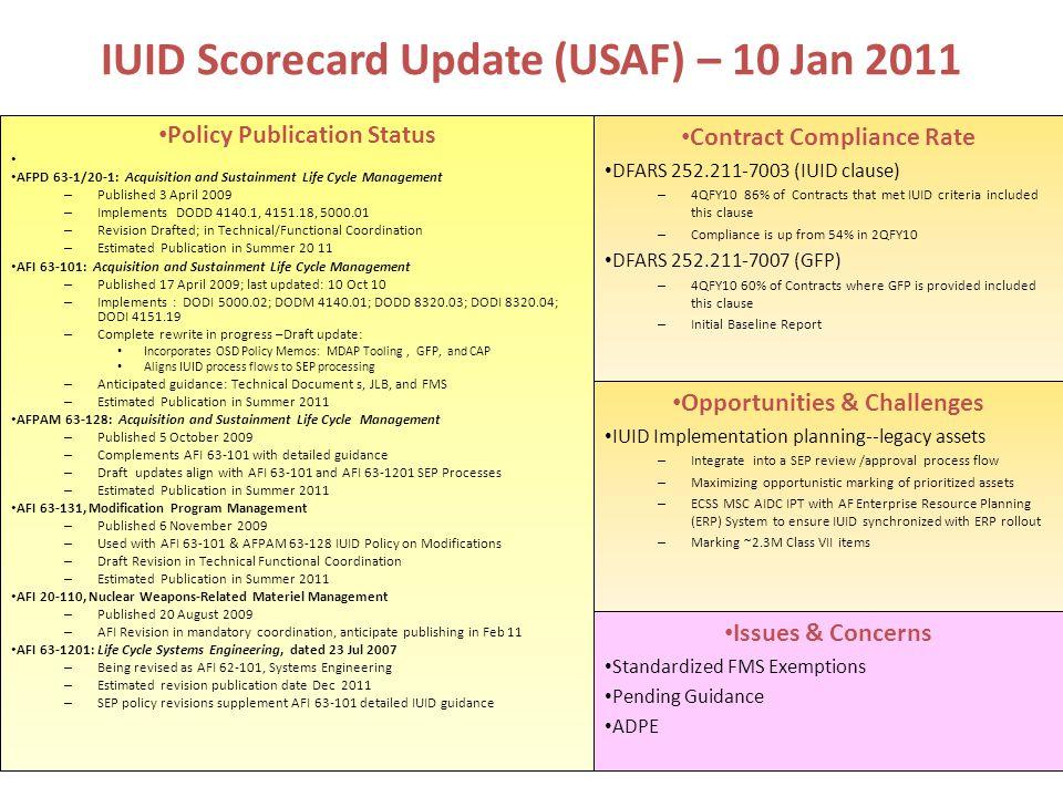 IUID Scorecard Update (USAF) – 10 Jan 2011