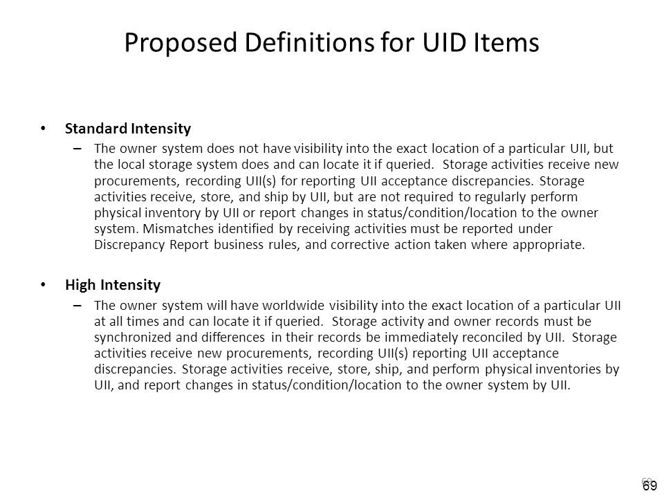 Proposed Definitions for UID Items