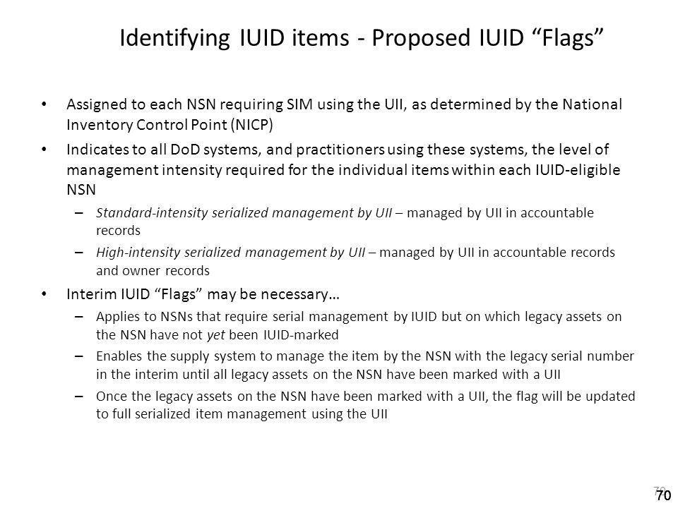 Identifying IUID items - Proposed IUID Flags