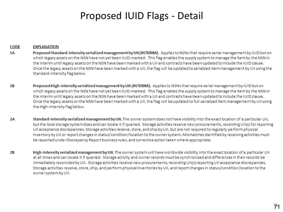 Proposed IUID Flags - Detail