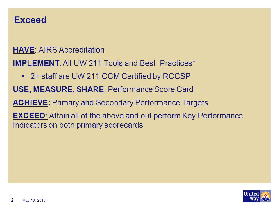 Exceed HAVE: AIRS Accreditation