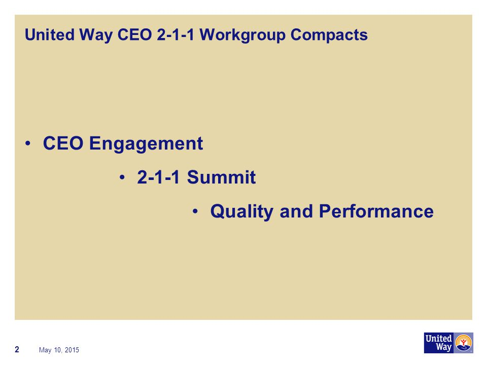 United Way CEO 2-1-1 Workgroup Compacts