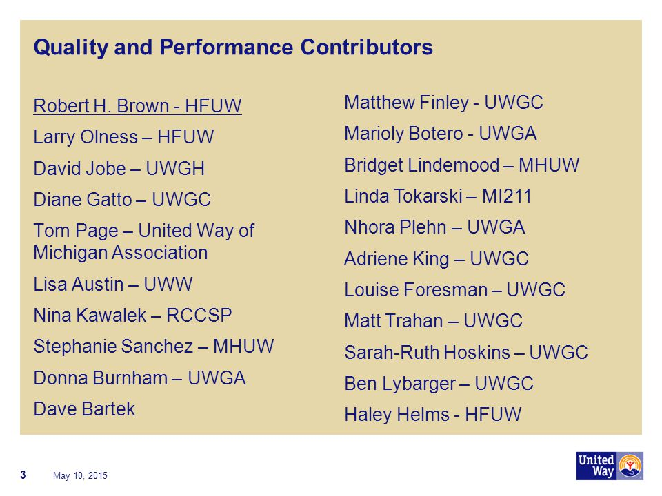 Quality and Performance Contributors