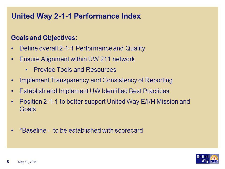 United Way 2-1-1 Performance Index