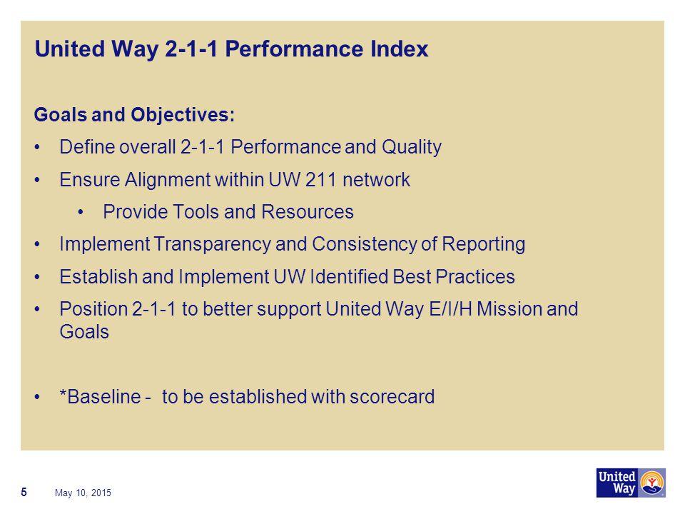 United Way 2-1-1 Performance Index