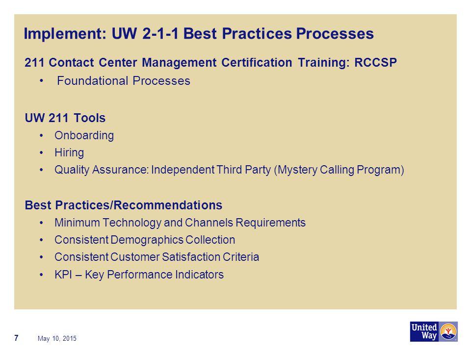 Implement: UW 2-1-1 Best Practices Processes