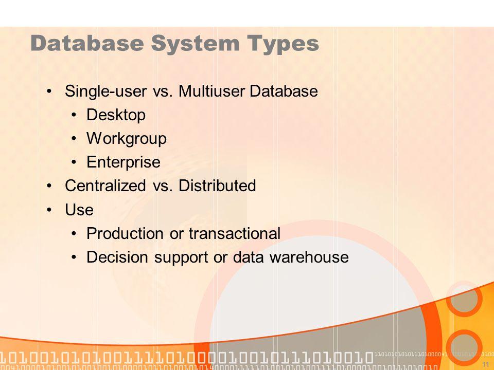 Database System Types Single-user vs. Multiuser Database Desktop