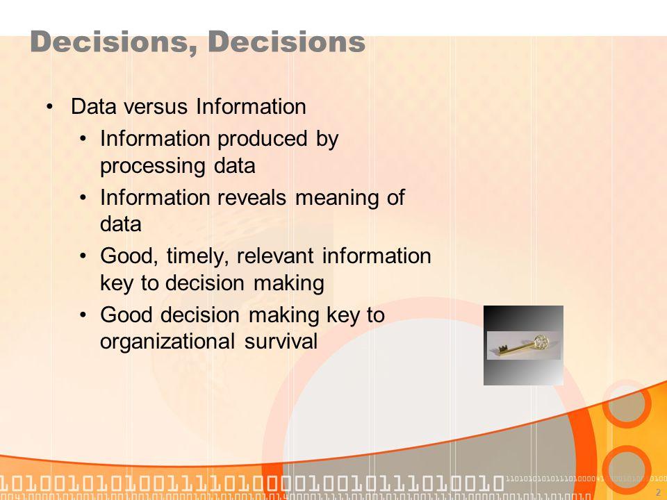 Decisions, Decisions Data versus Information