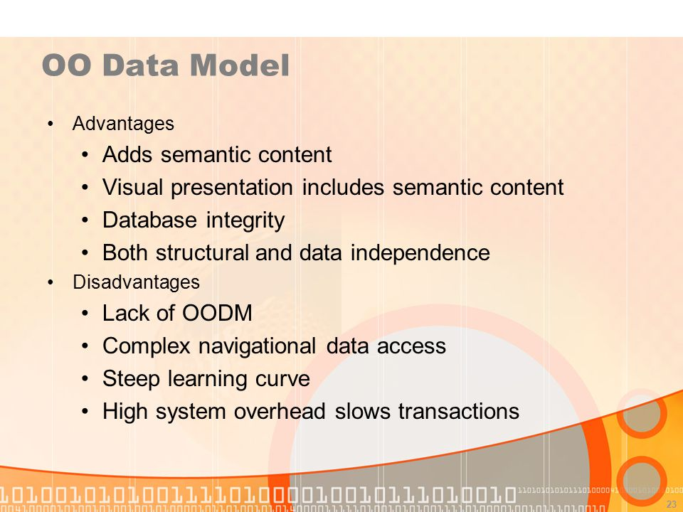 OO Data Model Adds semantic content