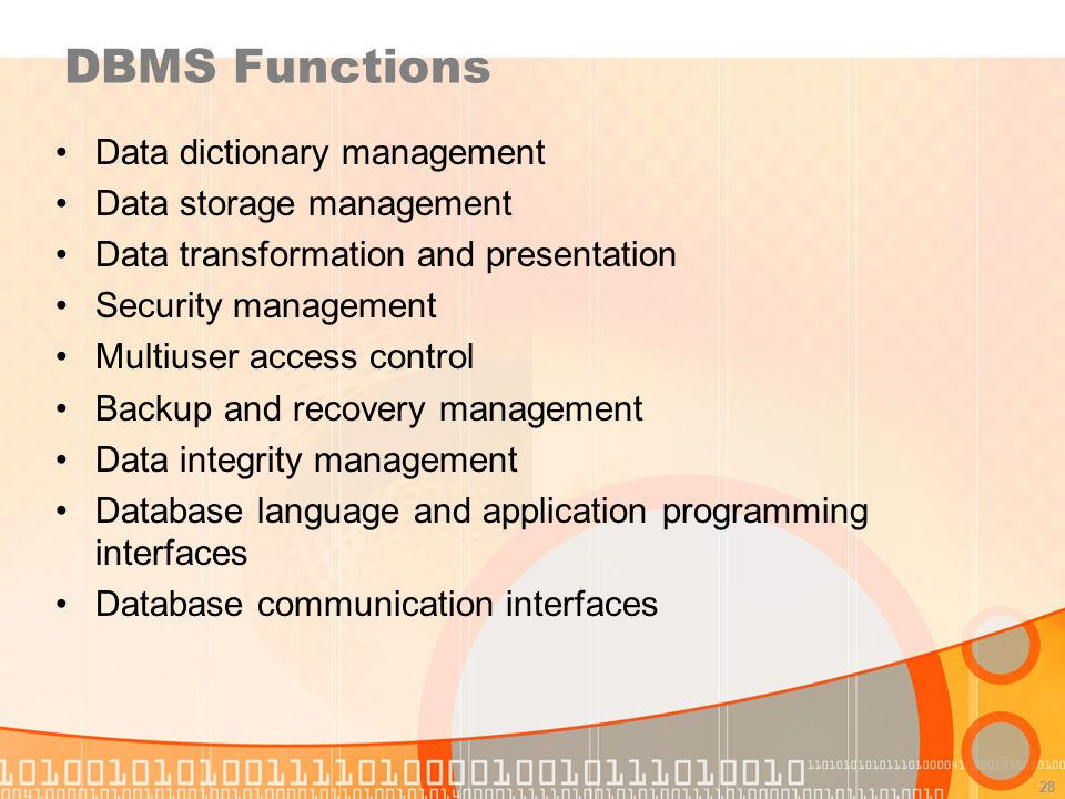 DBMS Functions Data dictionary management Data storage management