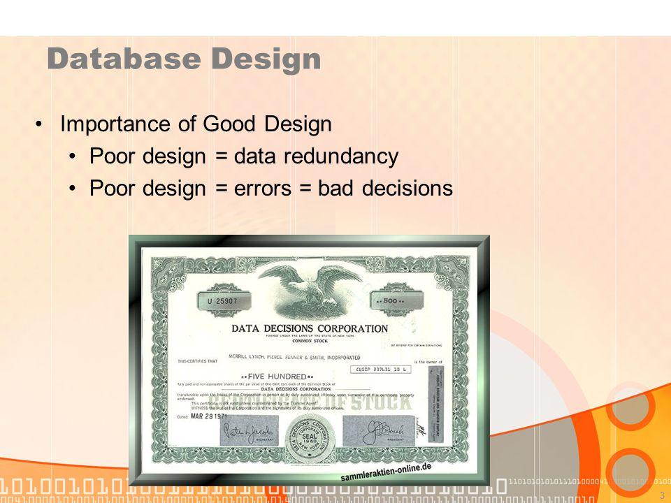 Database Design Importance of Good Design