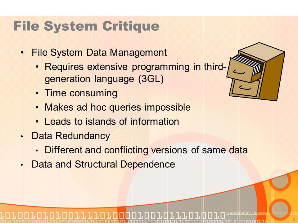 File System Critique File System Data Management