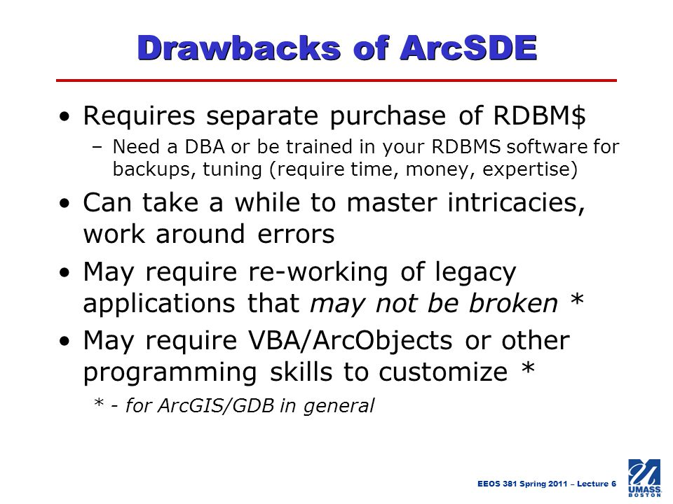 Drawbacks of ArcSDE Requires separate purchase of RDBM$
