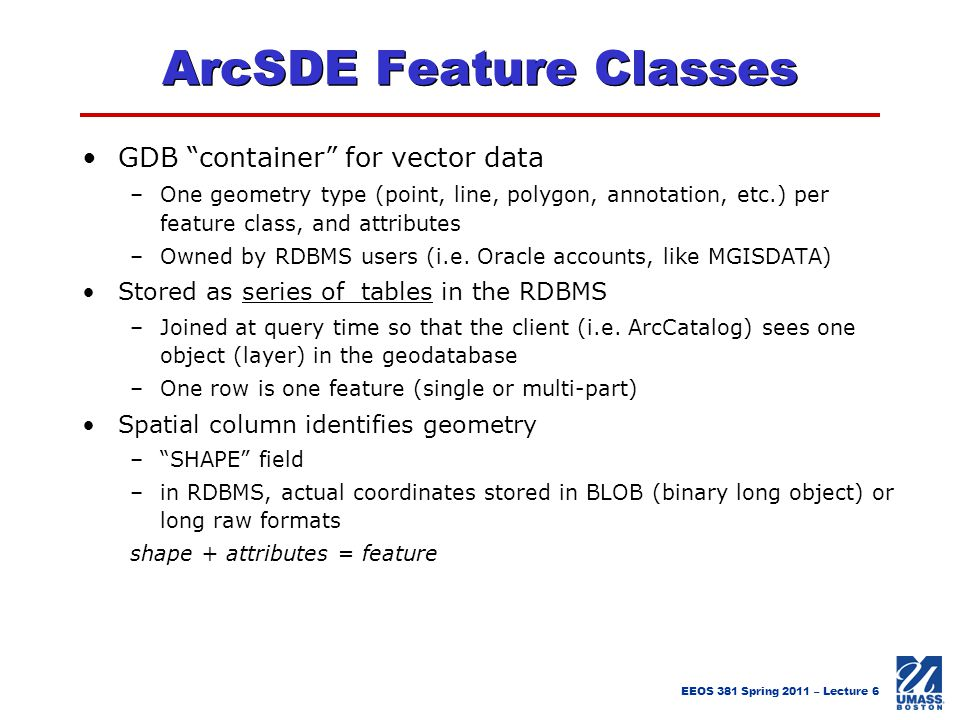 ArcSDE Feature Classes