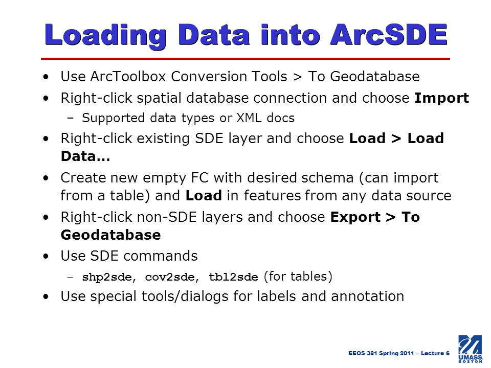Loading Data into ArcSDE