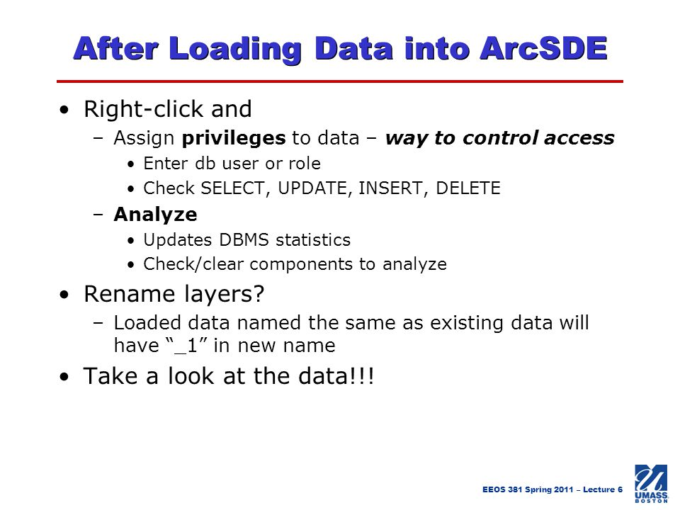 After Loading Data into ArcSDE