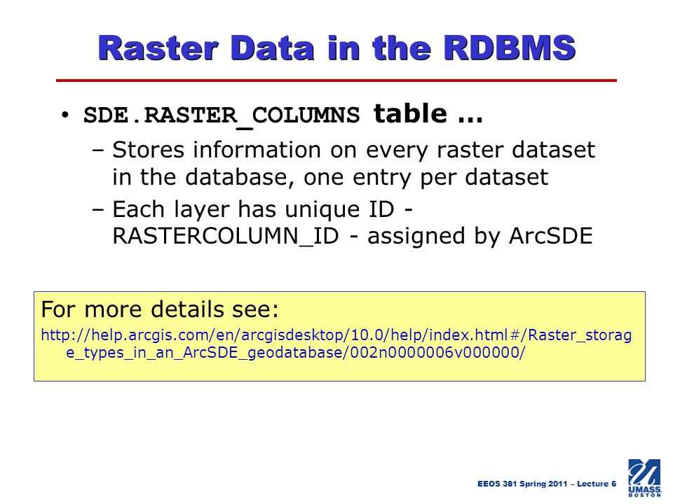 Raster Data in the RDBMS