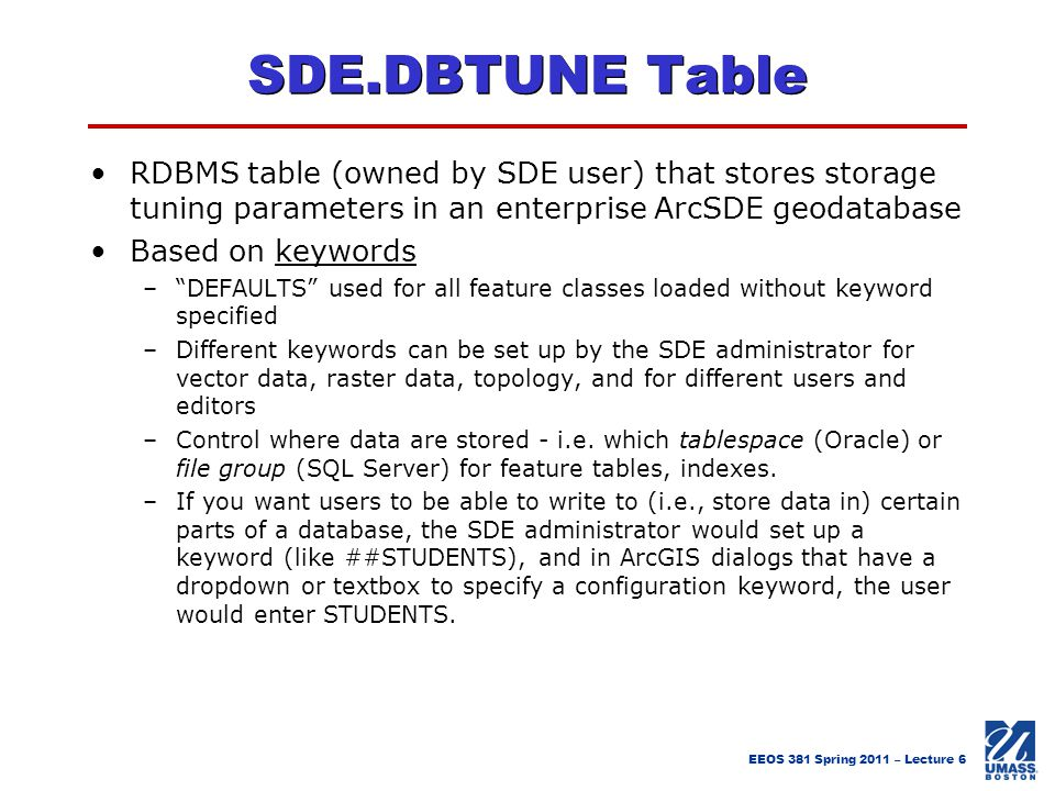 SDE.DBTUNE Table RDBMS table (owned by SDE user) that stores storage tuning parameters in an enterprise ArcSDE geodatabase.