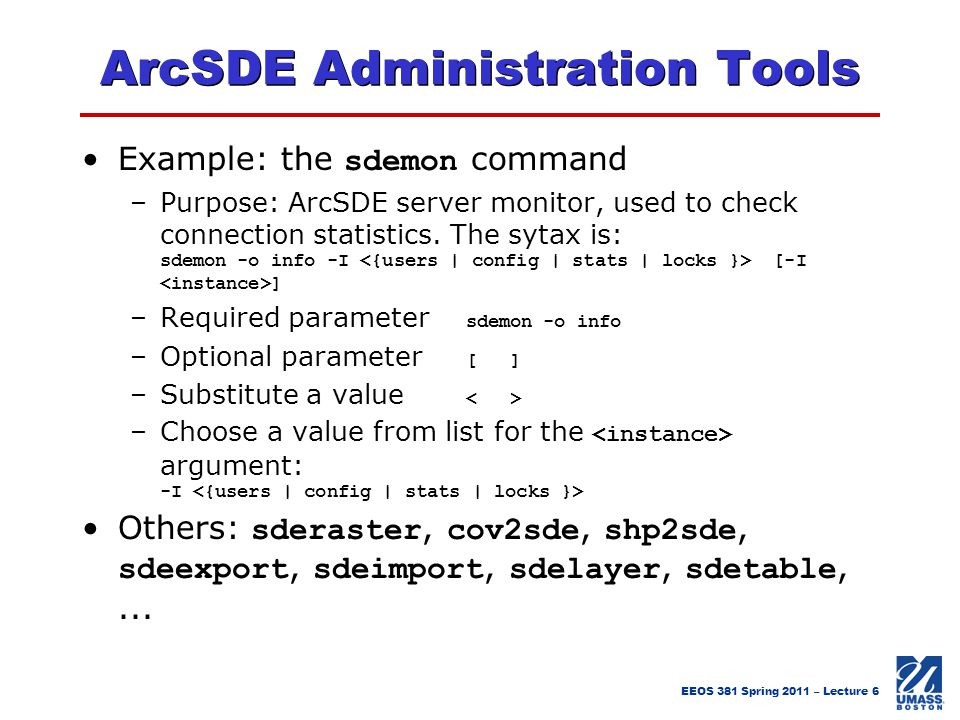 ArcSDE Administration Tools