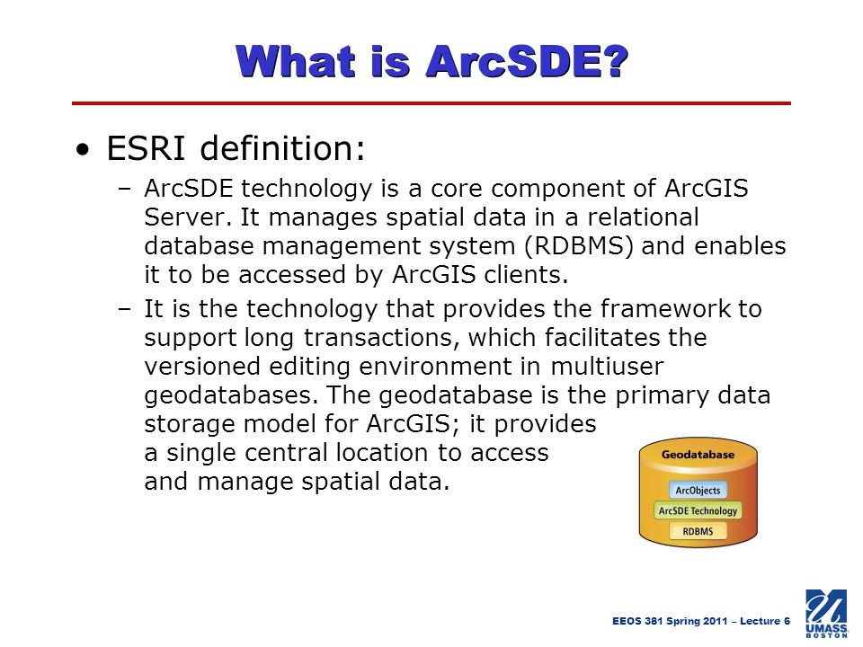 What is ArcSDE ESRI definition: