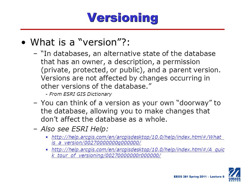 Versioning What is a version :