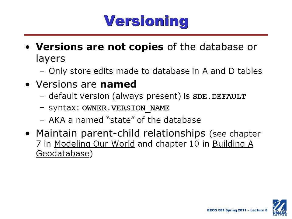 Versioning Versions are not copies of the database or layers