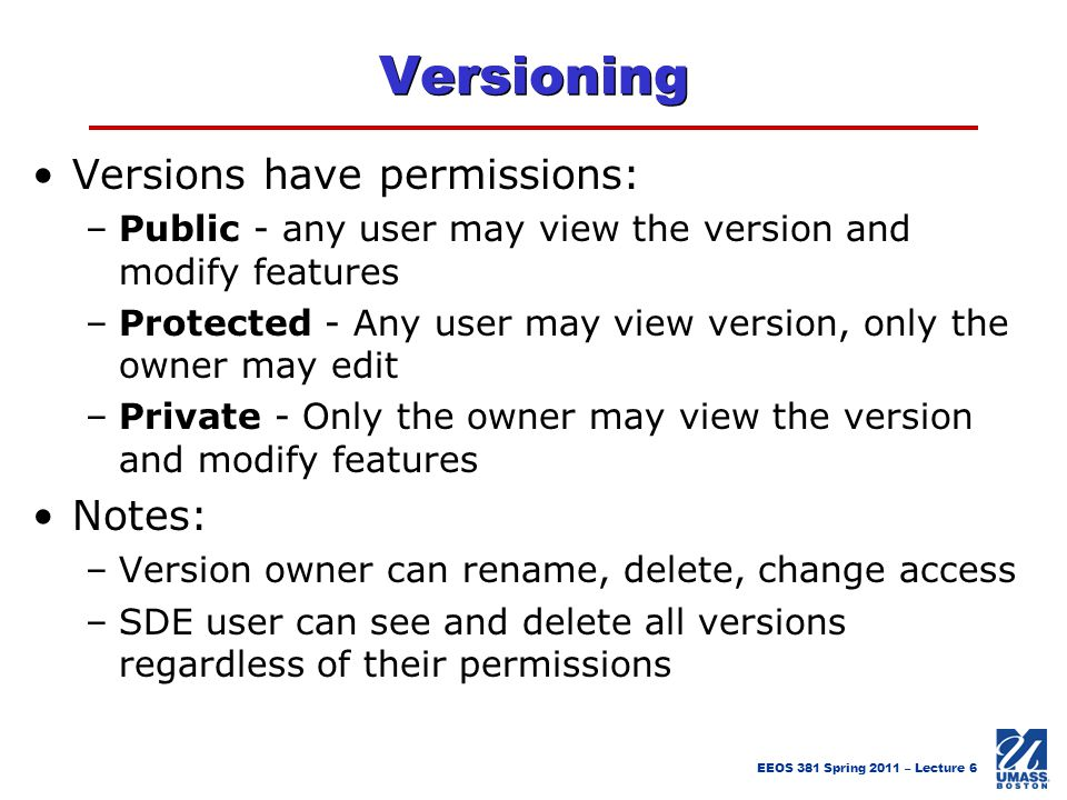 Versioning Versions have permissions: Notes: