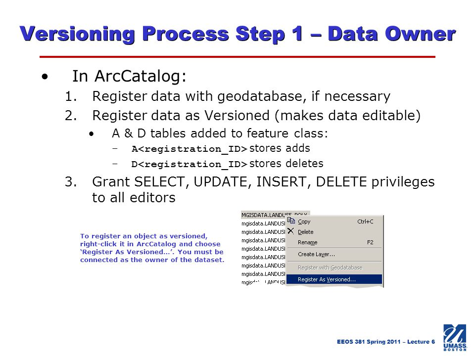 Versioning Process Step 1 – Data Owner