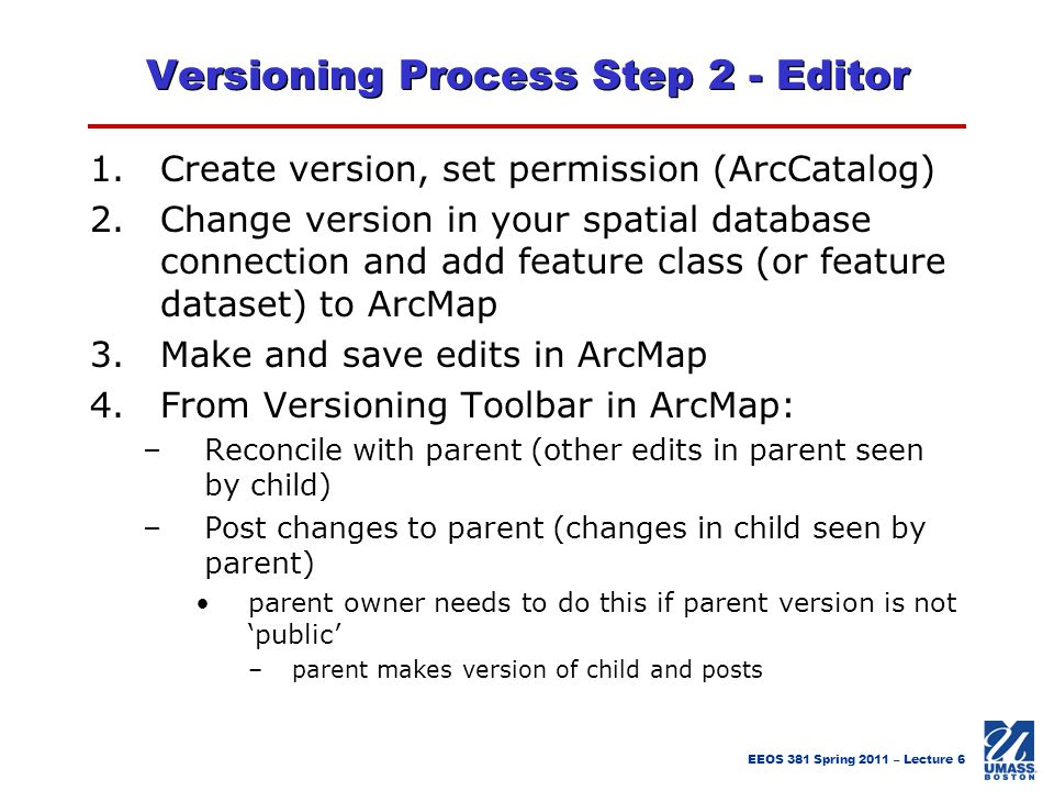 Versioning Process Step 2 - Editor