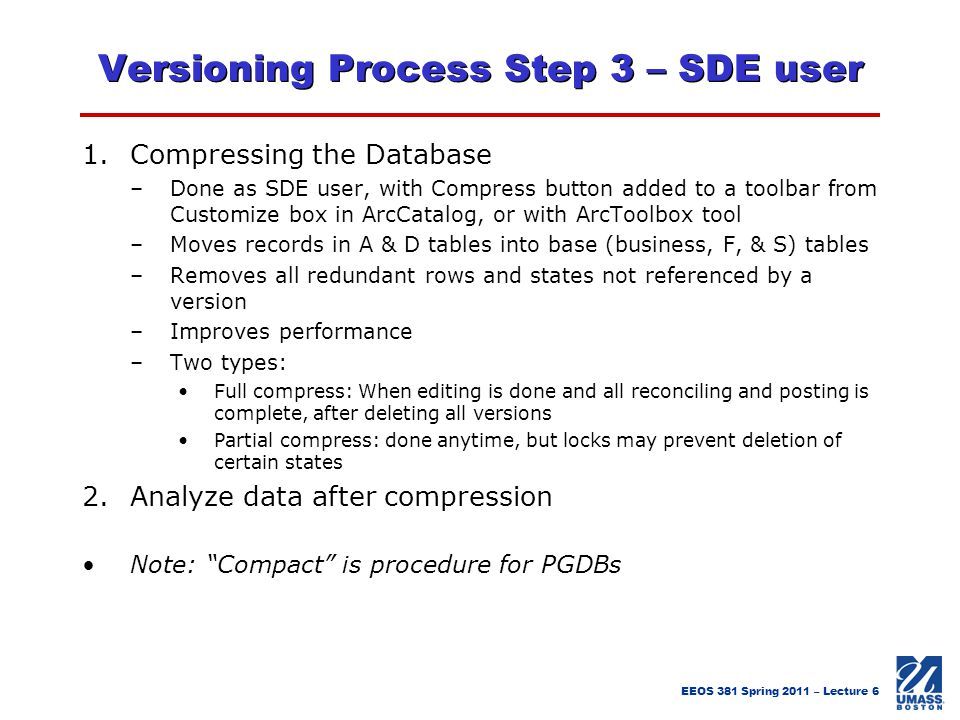 Versioning Process Step 3 – SDE user