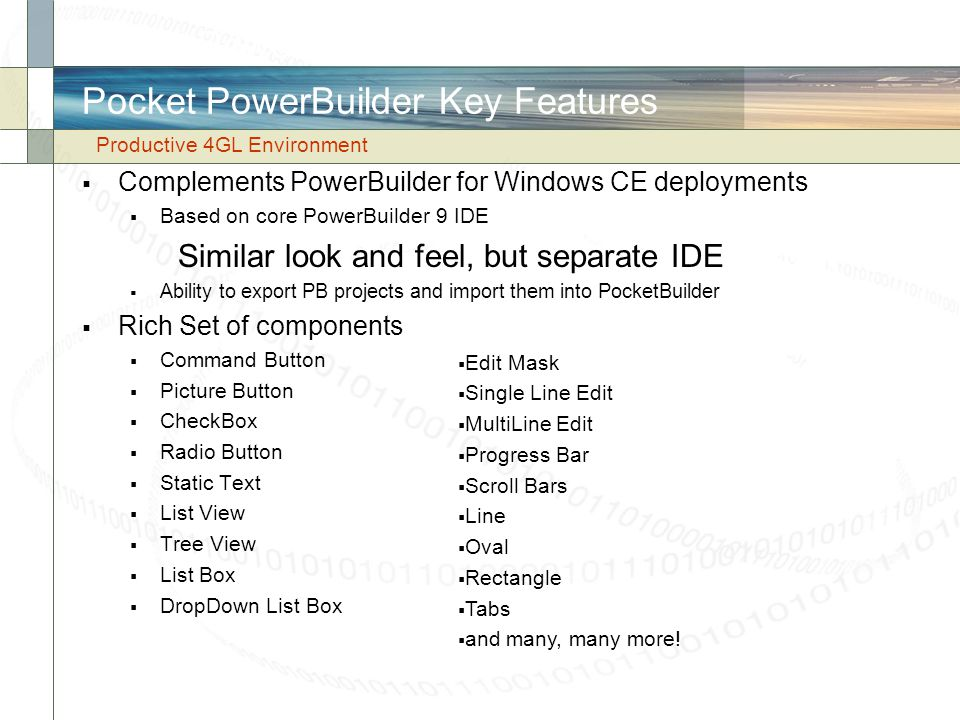 Pocket PowerBuilder Key Features