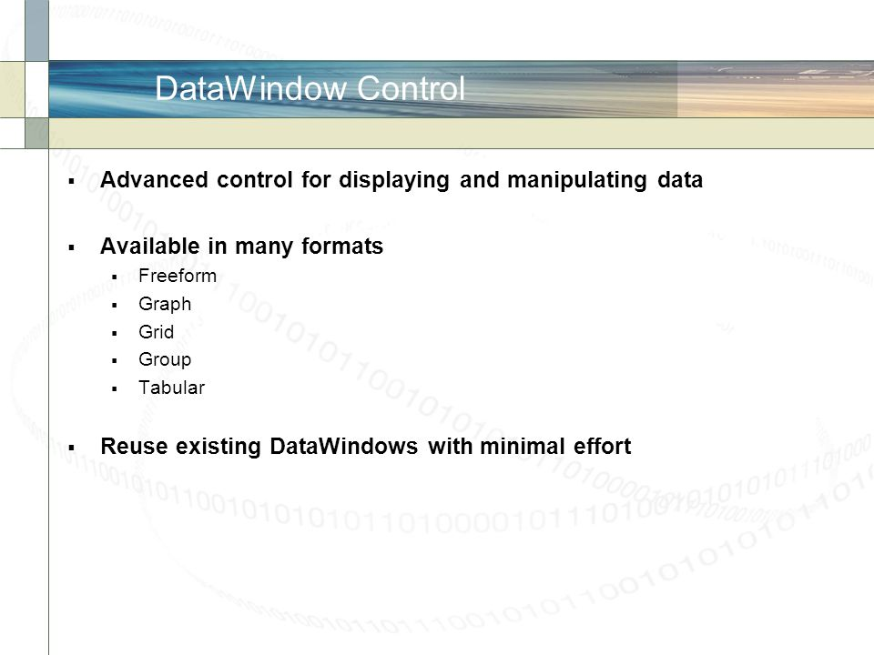 DataWindow Control Advanced control for displaying and manipulating data. Available in many formats.