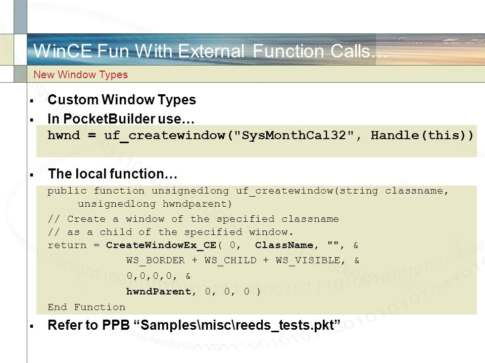 WinCE Fun With External Function Calls…