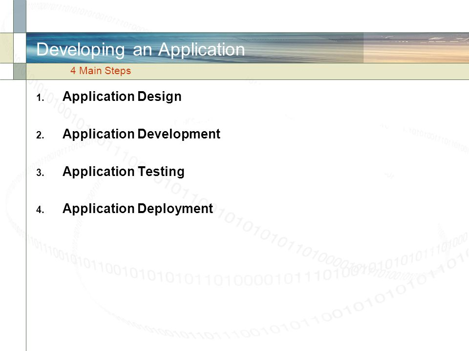 Developing an Application
