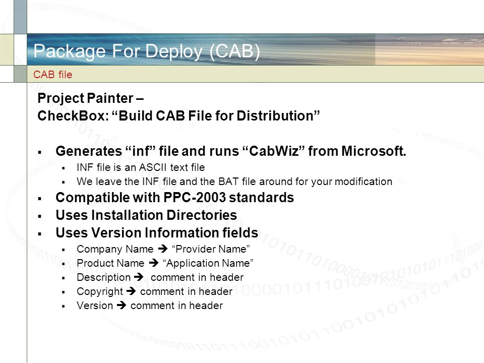 Package For Deploy (CAB)