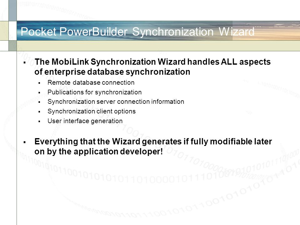 Pocket PowerBuilder Synchronization Wizard