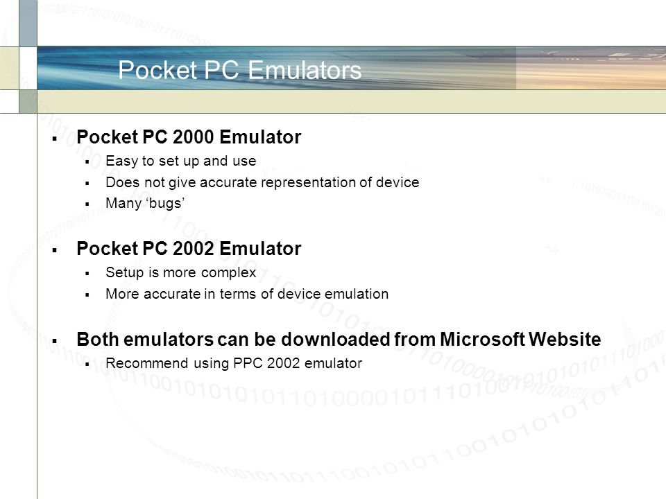 Pocket PC Emulators Pocket PC 2000 Emulator Pocket PC 2002 Emulator