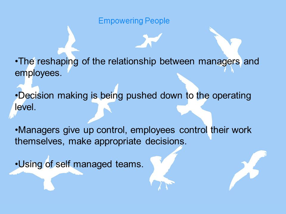 The reshaping of the relationship between managers and employees.
