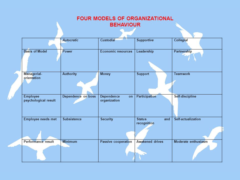 FOUR MODELS OF ORGANIZATIONAL BEHAVIOUR