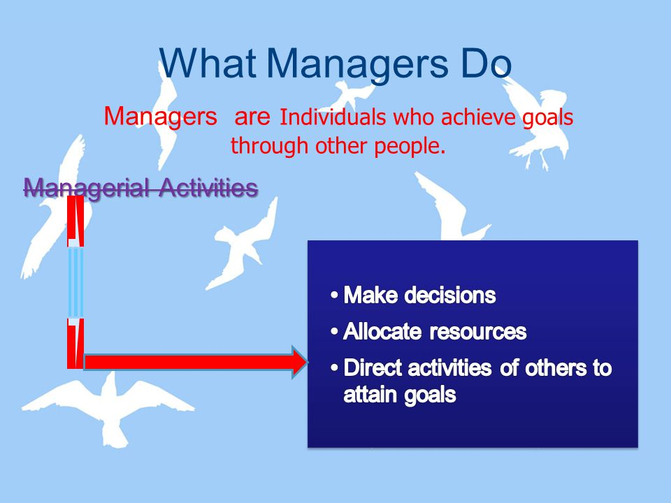 Managers are Individuals who achieve goals through other people.