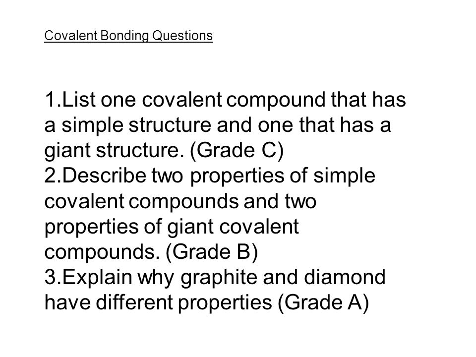 investigating covalent bonds essay Chromatography and ionic versus covalent bonds chromatography and ionic versus covalent bonds essay sample pages: 6 investigation on solubility of different.