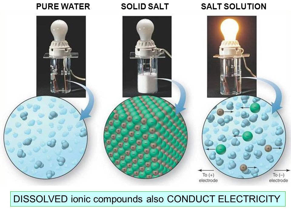 DISSOLVED ionic compounds also CONDUCT ELECTRICITY