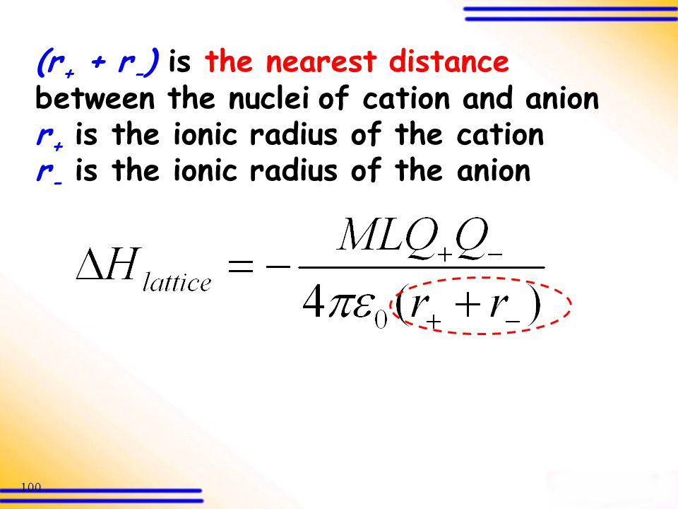 (r+ + r-) is the nearest distance between the nuclei of cation and anion