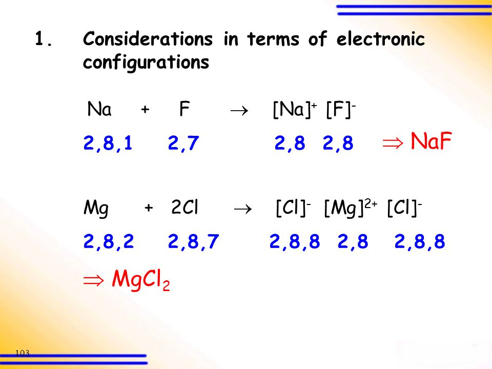  NaF  MgCl2 1. Considerations in terms of electronic configurations