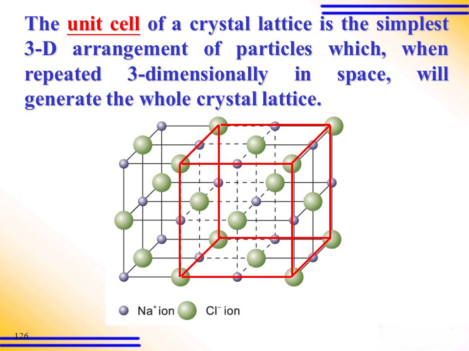 The unit cell of a crystal lattice is the simplest 3-D arrangement of particles which, when repeated 3-dimensionally in space, will generate the whole crystal lattice.