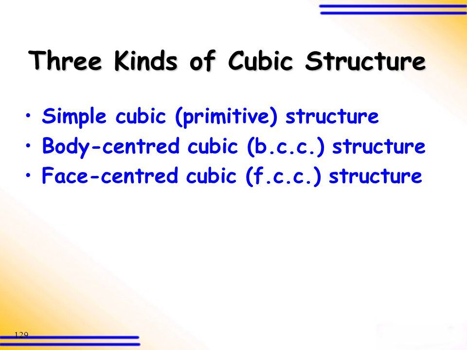 Three Kinds of Cubic Structure