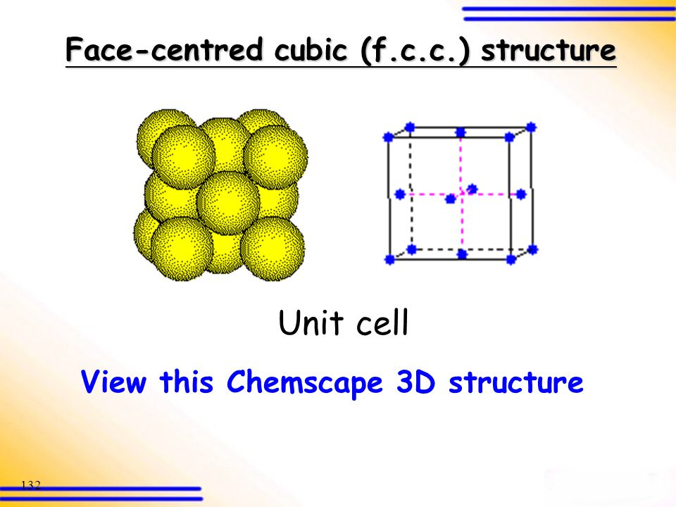 Face-centred cubic (f.c.c.) structure View this Chemscape 3D structure