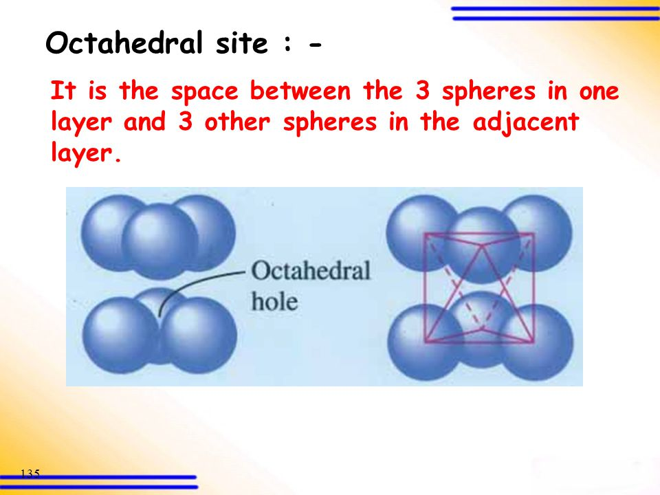 Octahedral site : - It is the space between the 3 spheres in one layer and 3 other spheres in the adjacent layer.